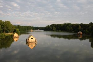 Floating cabins at Domaine de la Dombes