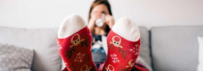 Femme aux chaussettes rouges : dormir montagne