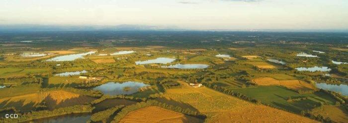 Etangs de la Dombes : vue aérienne