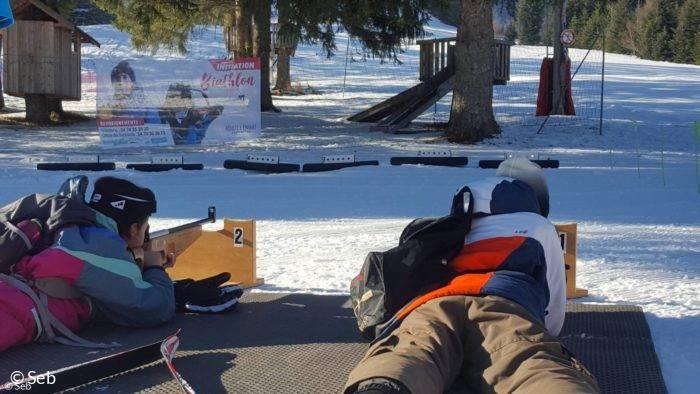 Biathlon, initiation sur le site nordique d'Hauteville à La Praille